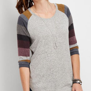 Maurices Brushed Pullover Grey Jewel Stripe Sleeve